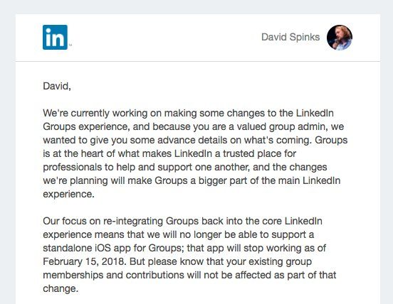 LinkedIn Groups changes