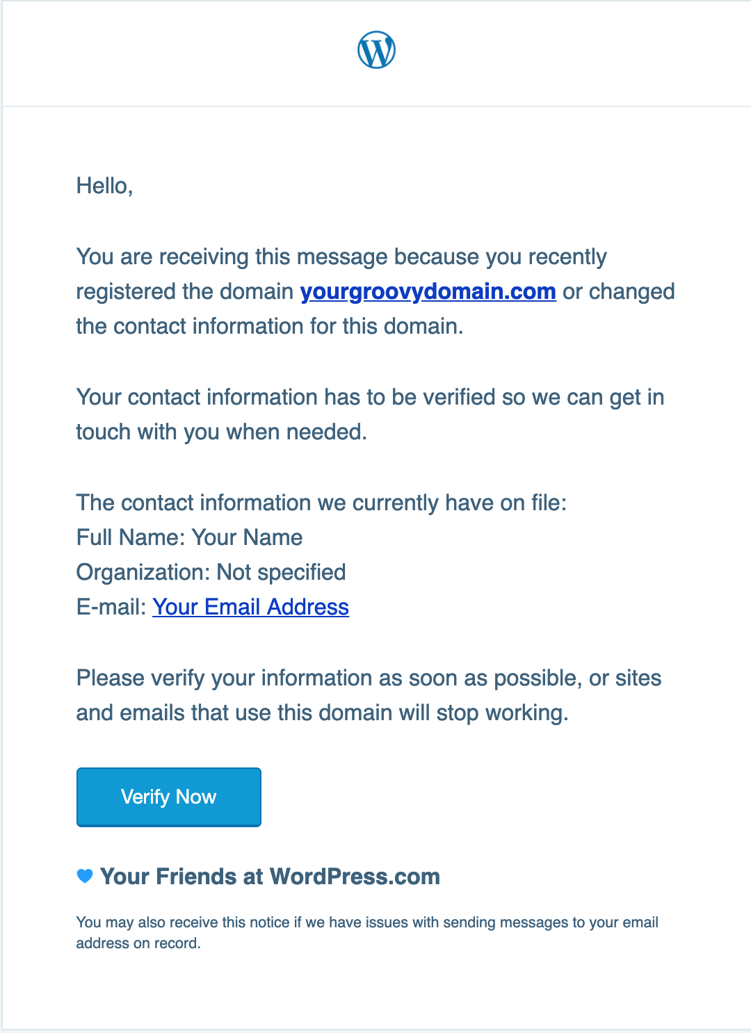 email verification wordpress