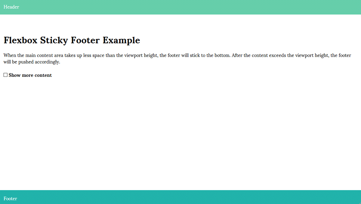 Demo image: Flexbox Sticky Footer