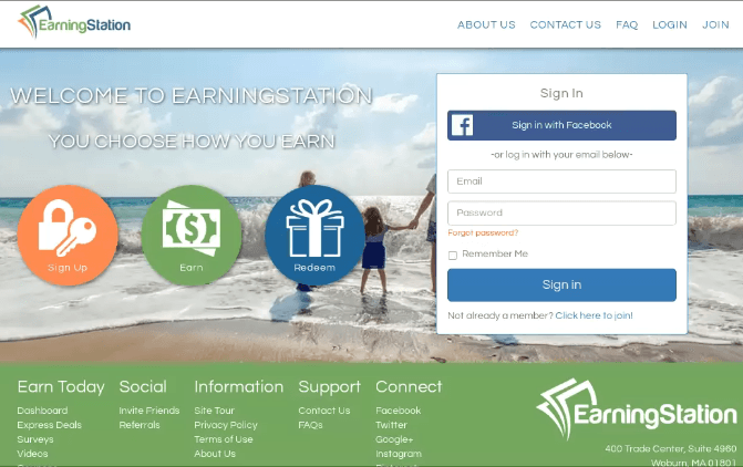 This is a screenshot of official earning station website