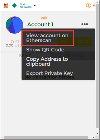 View account in Etherscan