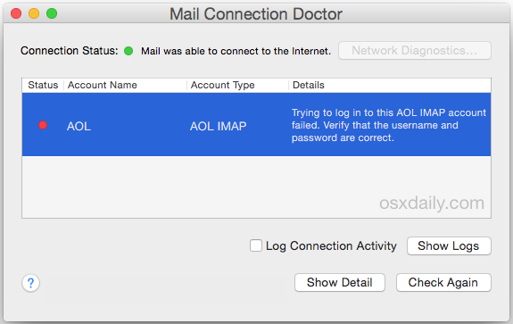 Mac Mail app requests password to verify login details of email account