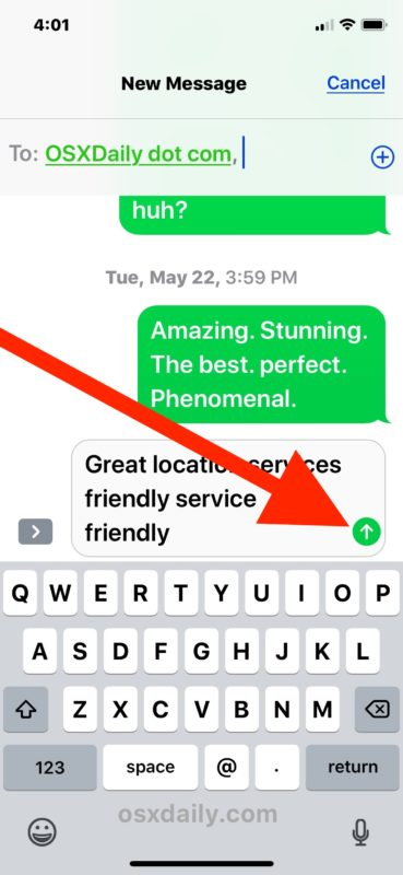 Sending a forwarded message on iPhone with Messages app