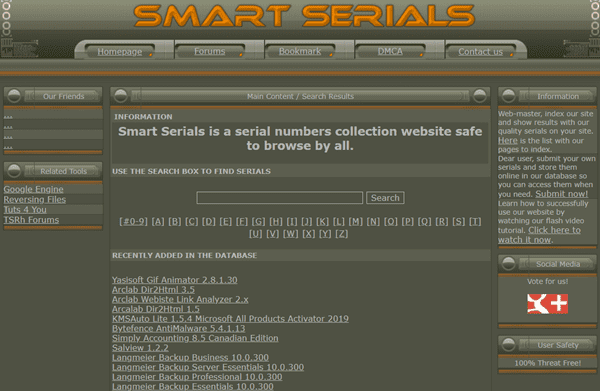 Smart Serials is another serial number collection website.