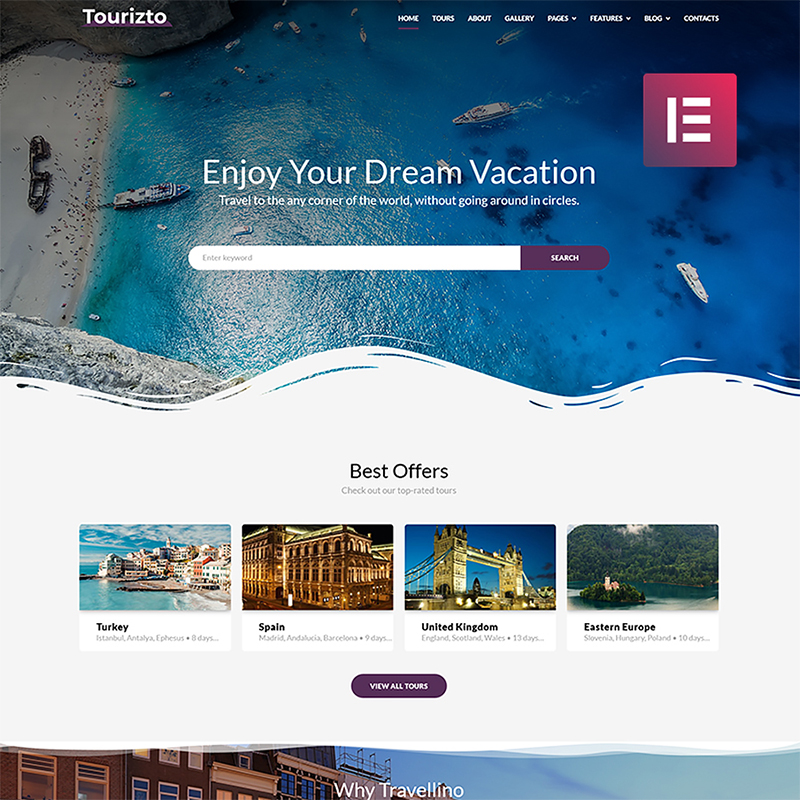 Tourizto - Elementor WordPress шаблон для сайта турагентства