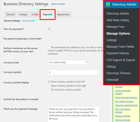 Business Directory Plugin Payment Settings